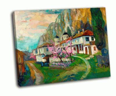 Картина старые традиционные болгарские дома