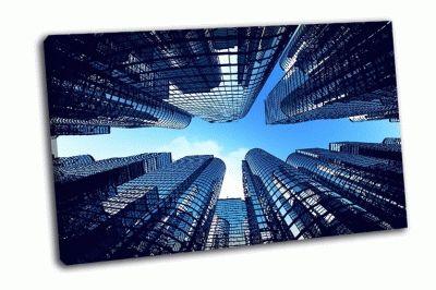 Картина стеклянные здания города