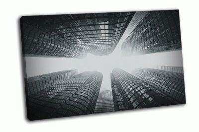 Картина стеклянные здания города в тумане