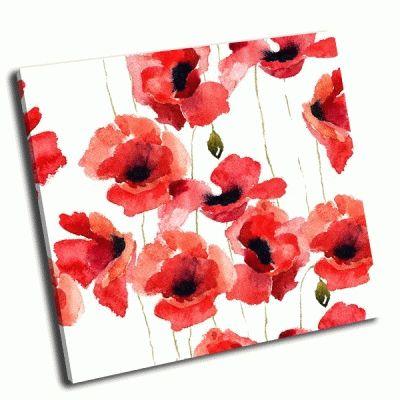 Картина стилизованные цветы мака-2