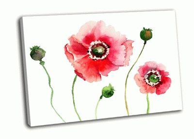 Картина стилизованные цветы мака