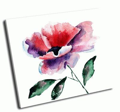 Картина стилизованный цветок мака