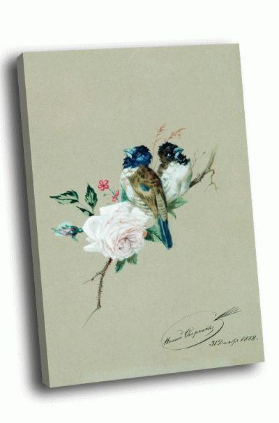 Картина сверчков николай егорович - две птицы на розе