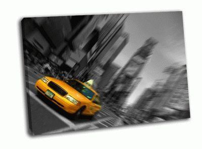 Картина такси на черно-белом фоне