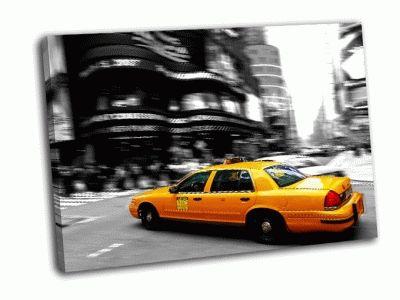 Картина такси на таймс сквер в нью-йорке