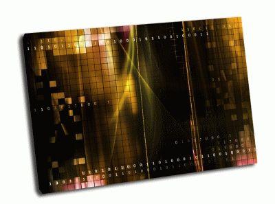 Картина темно-желтые квадраты. бинарный код
