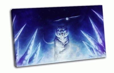 Картина тигр в ночи