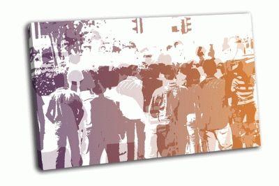 Картина толпа, абстрактный фон
