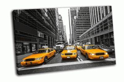 Картина три такси в нью-йорке