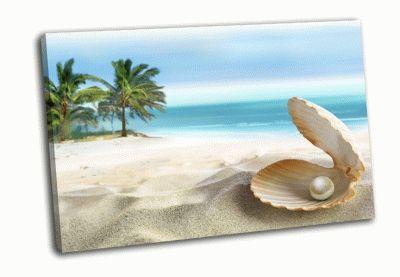Картина тропический пляж и ракушка