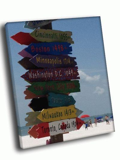 Картина указатель городов на пляже
