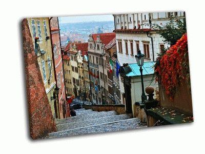 Картина улица старого города, прага