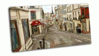 Картина улица в париже, иллюстрация