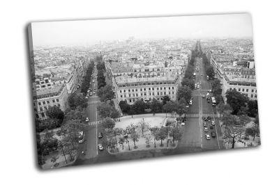 Картина улицы парижа в черно-белом