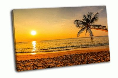 Картина великолепный закат на пляже
