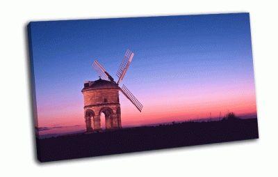 Картина ветряная мельница в поле