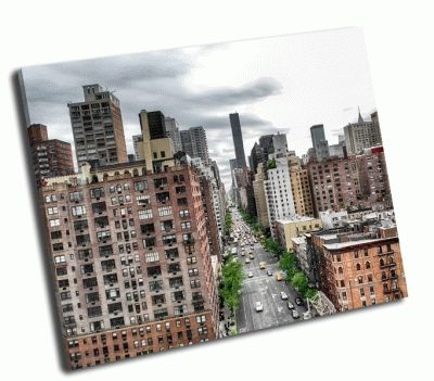 Картина вид на авеню в нью-йорке