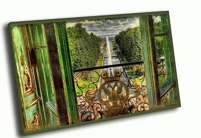 Картина вид на фонтаны петродворца из окна