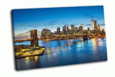 Картина вид на нью-йорк через ист-ривер