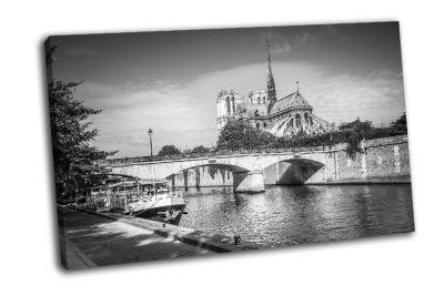 Картина вид на сену и нотр-дам в париже