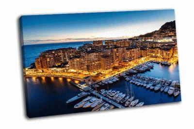 Картина вид с воздуха на фонвьей монако