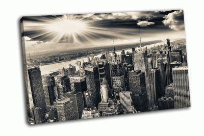 Картина вид  с воздуха на манхэттен