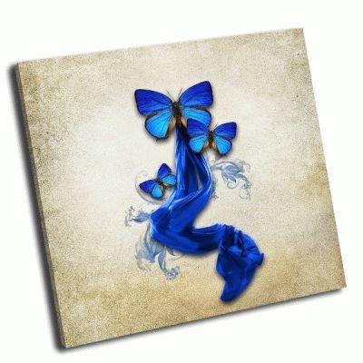 Картина винтажный фон с бабочками