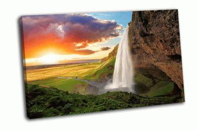 Картина водопад, исландия