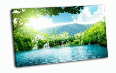 Картина водопад в джунглях