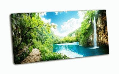 Картина водопад в глухом лесу, хорватия