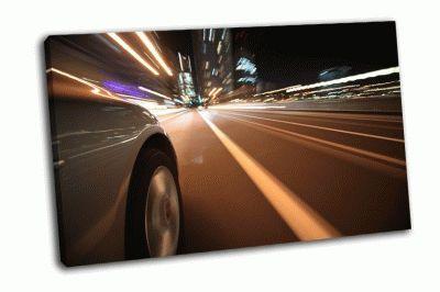 Картина вождение в ночном городе