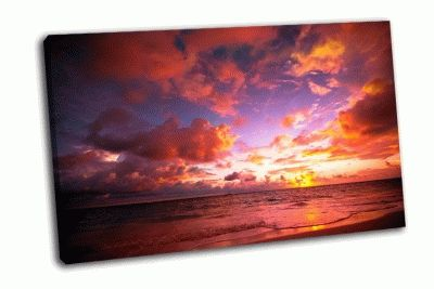 Картина восход на побереже в тропиках