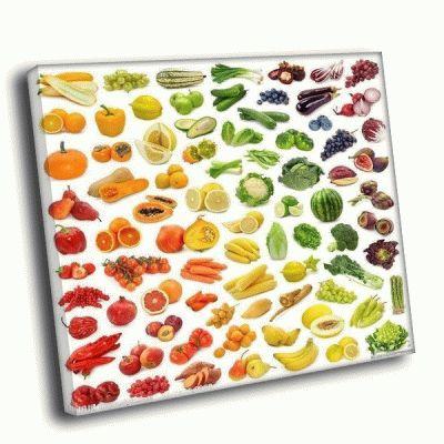 Картина вся палитра фруктов и овощей