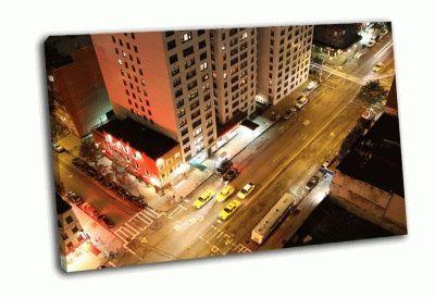 Картина взгляд на ночной манхэттен