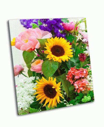 Картина яркий многоцветный букет