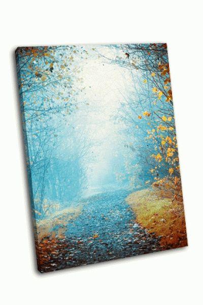Картина загадочный туманный путь в осень