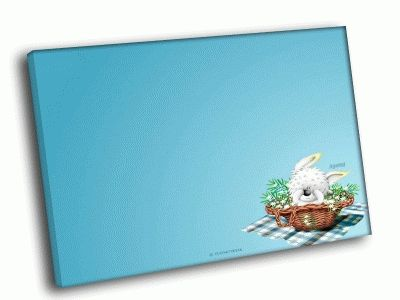 Картина зайчик в корзине
