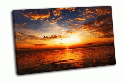 Картина закат на пляже с красивым небом