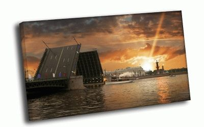 Картина закат над дворцовым мостом