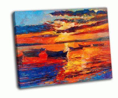Картина закат над океаном на холсте