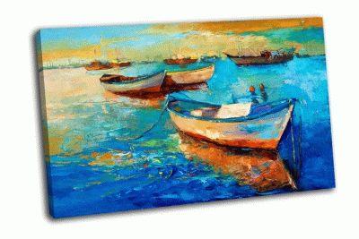 Картина закат над океаном с лодками