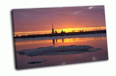 Картина закат над шпилем адмиралтейства