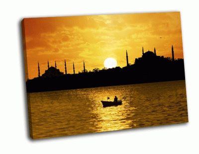 Картина закат над стамбулом, силуэт в лодке