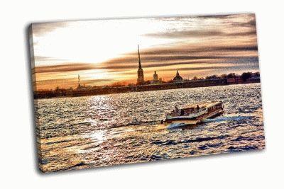Картина закат, петропавловская крепость