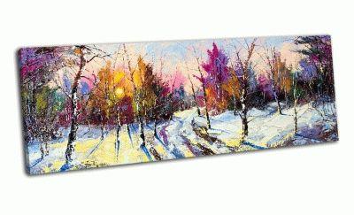 Картина закат в зимнем лесу