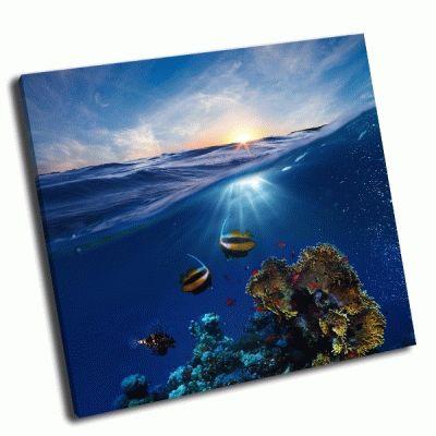 Картина заход солнца под водой