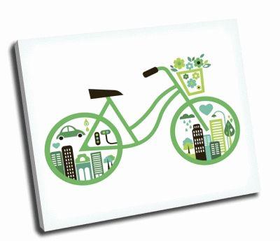 Картина зеленый велосипед