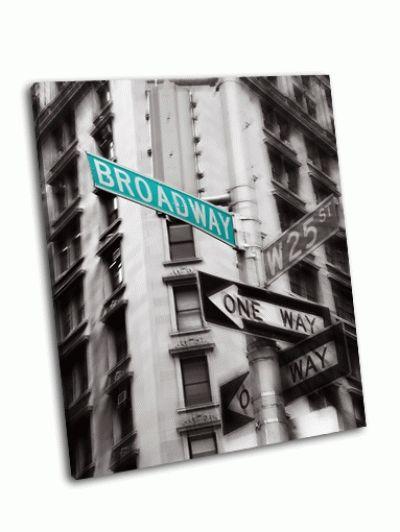 Картина зеленый знак бродвей стрит