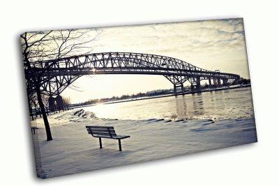 Картина зимний мост