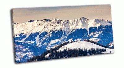 Картина зимний пейзаж и голубое небо, австрия